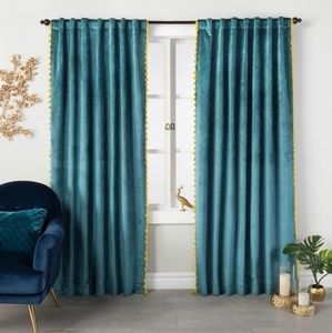 Opalhouse Teal Velvet Curtains With Tassels